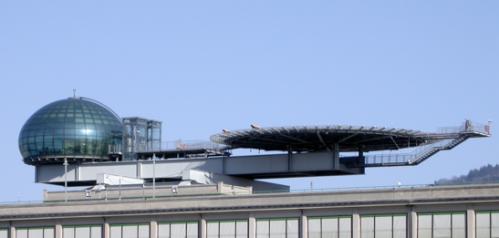 Sul tetto del lingotto, la piattaforma per elicotteri