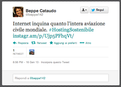hosting sostenibile tweet
