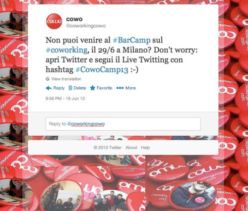 Live Twitting Coworking Barcamp Milano